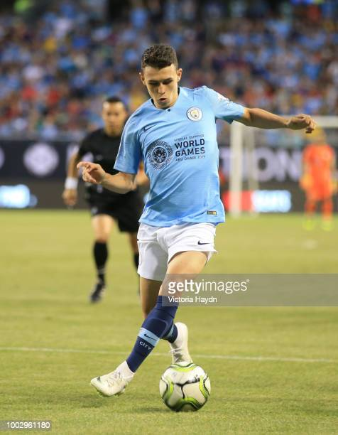 Manchester City's Phil Foden in action at Soldier Field on July 20 2018 in Chicago Illinois