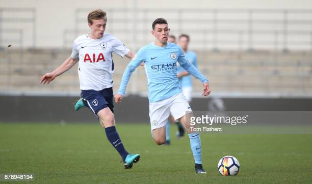 Manchester City's Phil Foden in action during the Premier League 2 match between Manchester City and Tottenham Hotspur at Manchester City Football...