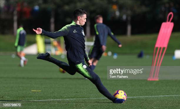 Manchester City's Phil Foden in action during the training session at Manchester City Football Academy on October 26 2018 in Manchester England
