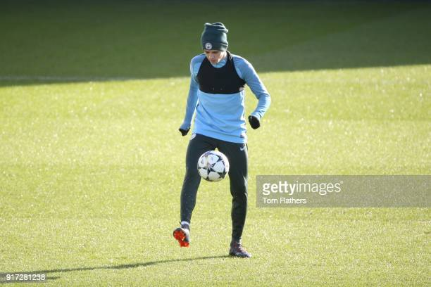 Manchester City's Phil Foden in action during training at City Football Academy on February 12 2018 in Manchester England
