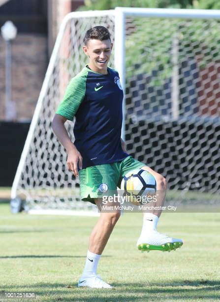 Manchester City's Phil Foden on the ball during training at University of Illinois on July 18 2018 in Chicago Illinois