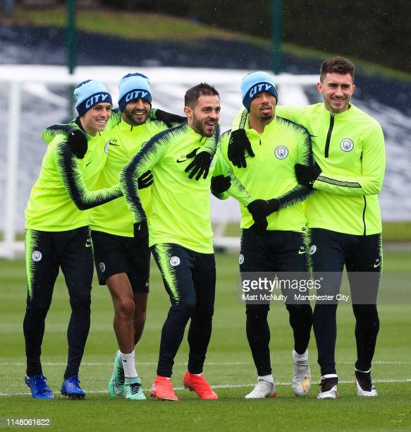 Manchester City's Phil Foden Riyad Mahrez Bernardo Silva Gabriel Jesus and Aymeric Laporte in action during the training session at Manchester City...