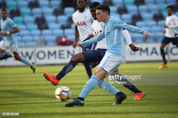 Manchester City's Phil Foden scores during the Premier League 2 match between Manchester City and Tottenham Hotspur at Manchester City Football...