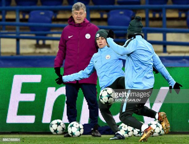 Manchester City's Phil Foden takes part in a training session in Kharkiv on December 5 on the eve of the UEFA Champion League football match between...