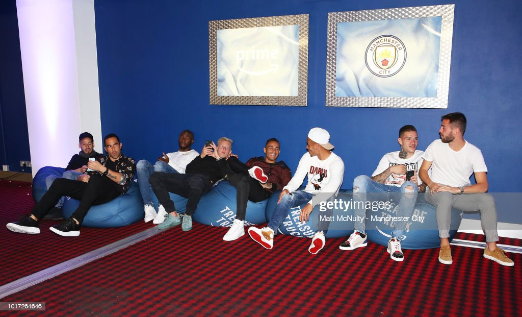 Manchester City's players relax at The Printworks on August 15, 2018 in Manchester, England.
