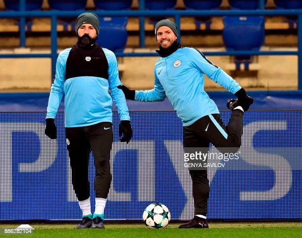 Manchester City's players take part in a training session in Kharkiv on December 5 on the eve of the UEFA Champion League football match between...