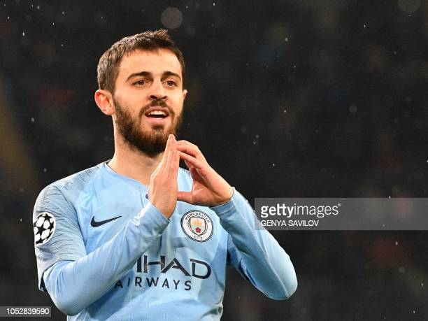 Manchester City's Portuguese midfielder Bernardo Silva celebrates after scoring a goal during the UEFA Champions League football match between...