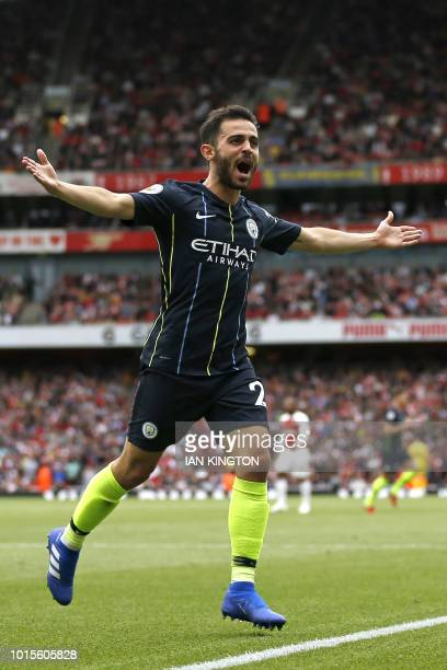 Manchester City's Portuguese midfielder Bernardo Silva celebrates after scoring their second goal during the English Premier League football match...