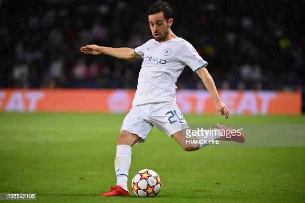 Manchester City's Portuguese midfielder Bernardo Silva kicks the ball during the UEFA Champions League first round group A football match between...