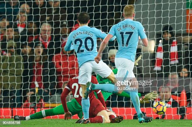 Manchester City's Portuguese midfielder Bernardo Silva scores their second goal to make the score 42 during the English Premier League football match...