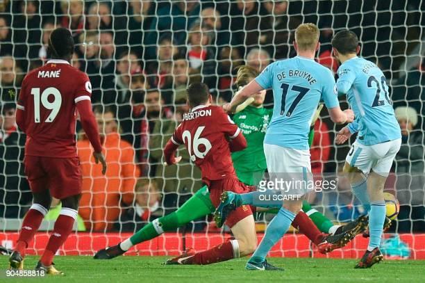Manchester City's Portuguese midfielder Bernardo Silva scores their second goal to make the score 42 during the English Premier League football match...