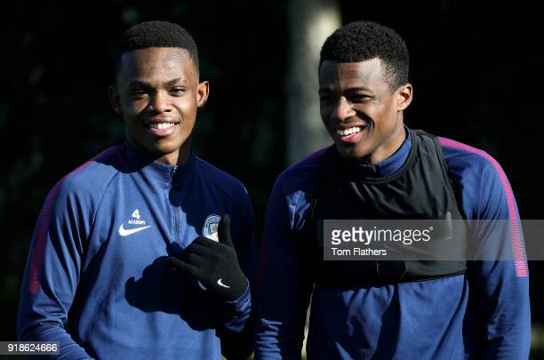 Manchester City's Rabbi Matondo and Javairo Dilrosun during training at Manchester City Football Academy on February 15 2018 in Manchester England