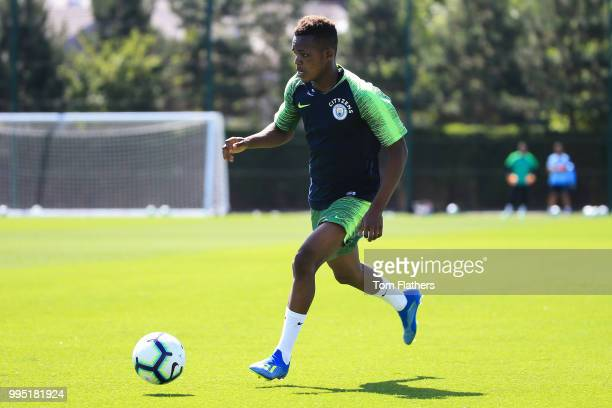 Manchester City's Rabbi Matondo during training at Manchester City Football Academy on July 10 2018 in Manchester England