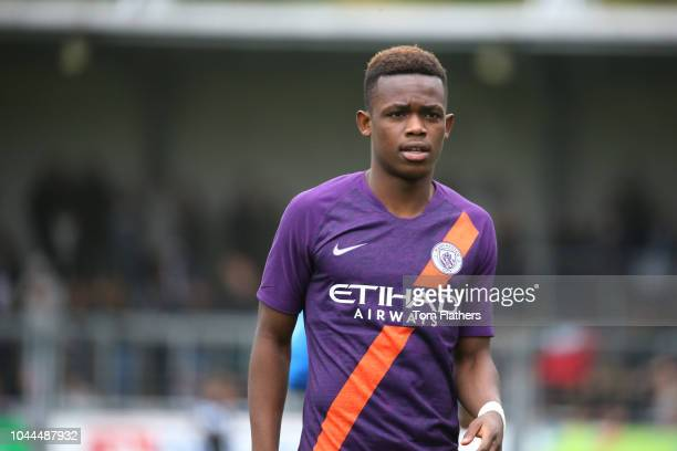 Manchester City's Rabbi Matondo in action during the UEFA Youth League Group F game between TSG 1899 Hoffenheim and Manchester City at the...