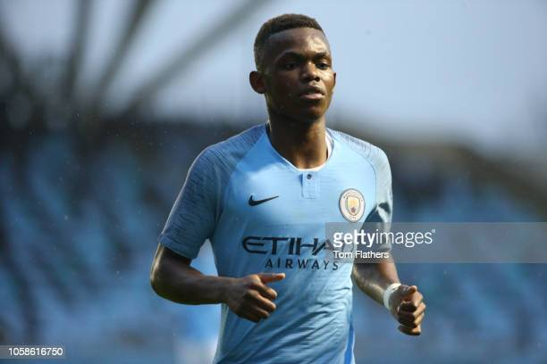 Manchester City's Rabbi Matondo looks on during the UEFA Youth League match between Manchester City and Shakhtar Donetsk at Manchester City Football...