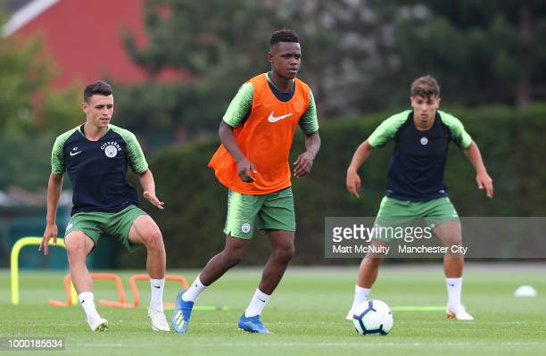 Manchester City's Rabbi Matondo, Phil Foden and Brahim Diaz during training at Manchester City Football Academy on July 16, 2018 in Manchester,...