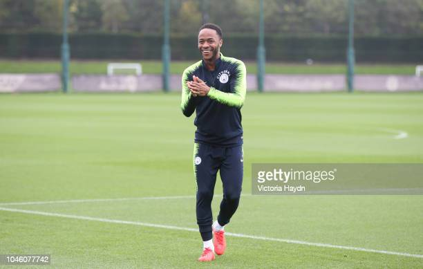 Manchester City's Raheem Sterling during training at Manchester City Football Academy on October 5 2018 in Manchester England