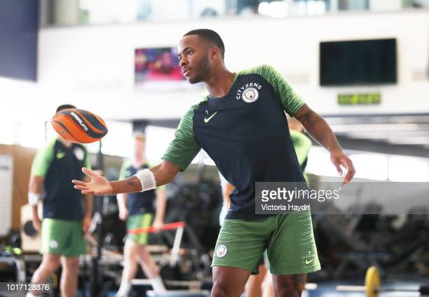 Manchester City's Raheem Sterling during training in the gym at Manchester City Football Academy on August 15 2018 in Manchester England
