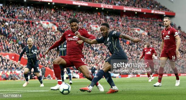 Manchester City's Raheem Sterling has his close range effort charged down by Liverpool's Joe Gomez during the Premier League match between Liverpool...