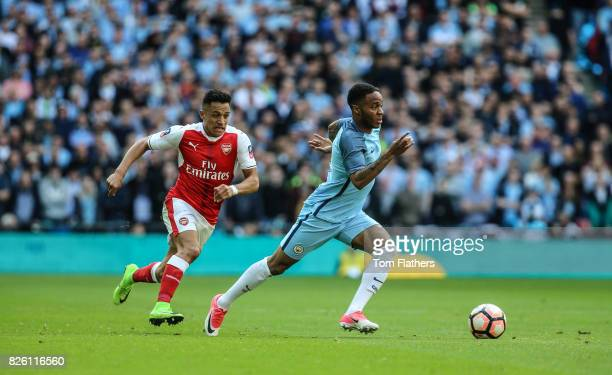 Manchester City's Raheem Sterling in action against Arsenal in the FA Cup Semi Final