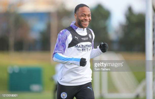 Manchester City's Raheem Sterling in action during training at Manchester City Football Academy on March 12 2020 in Manchester England