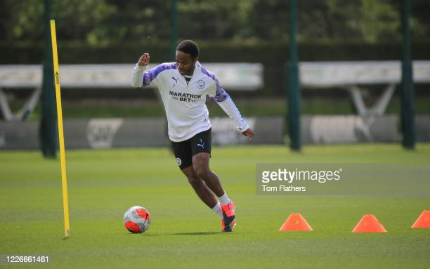 Manchester City's Raheem Sterling in action during training at Manchester City Football Academy on May 23 2020 in Manchester England