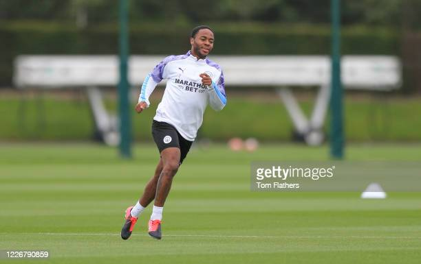 Manchester City's Raheem Sterling in action during training at Manchester City Football Academy on May 24 2020 in Manchester England