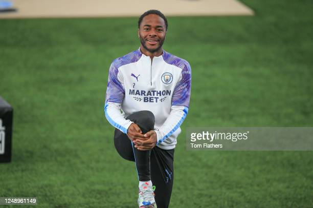 Manchester City's Raheem Sterling in action during training at Manchester City Football Academy on June 10 2020 in Manchester England