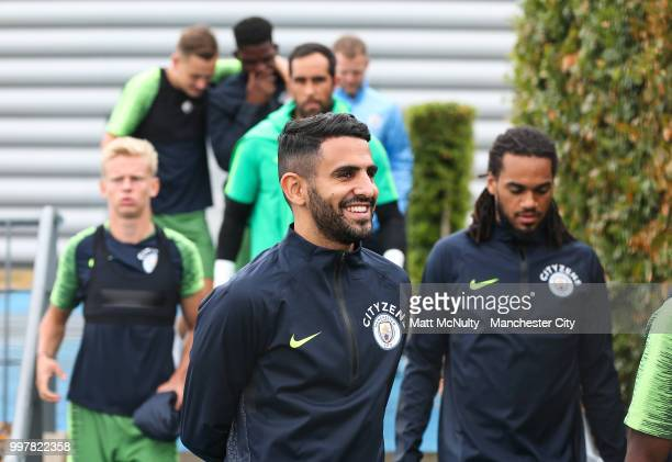 Manchester City's Riyad Mahrez and teammates during training at Manchester City Football Academy on July 13 2018 in Manchester England