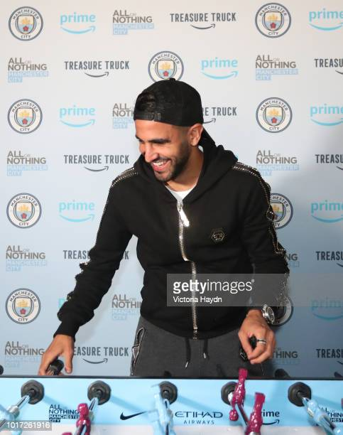 Manchester City's Riyad Mahrez at The Printworks on August 15 2018 in Manchester England