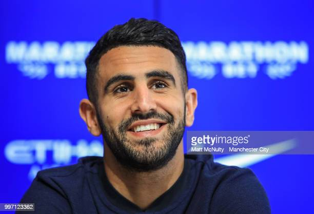 Manchester City's Riyad Mahrez during the press conference after being unveiled at Manchester City Football Academy on July 12 2018 in Manchester...