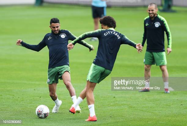 Manchester City's Riyad Mahrez during training at Manchester City Football Academy on August 3 2018 in Manchester England