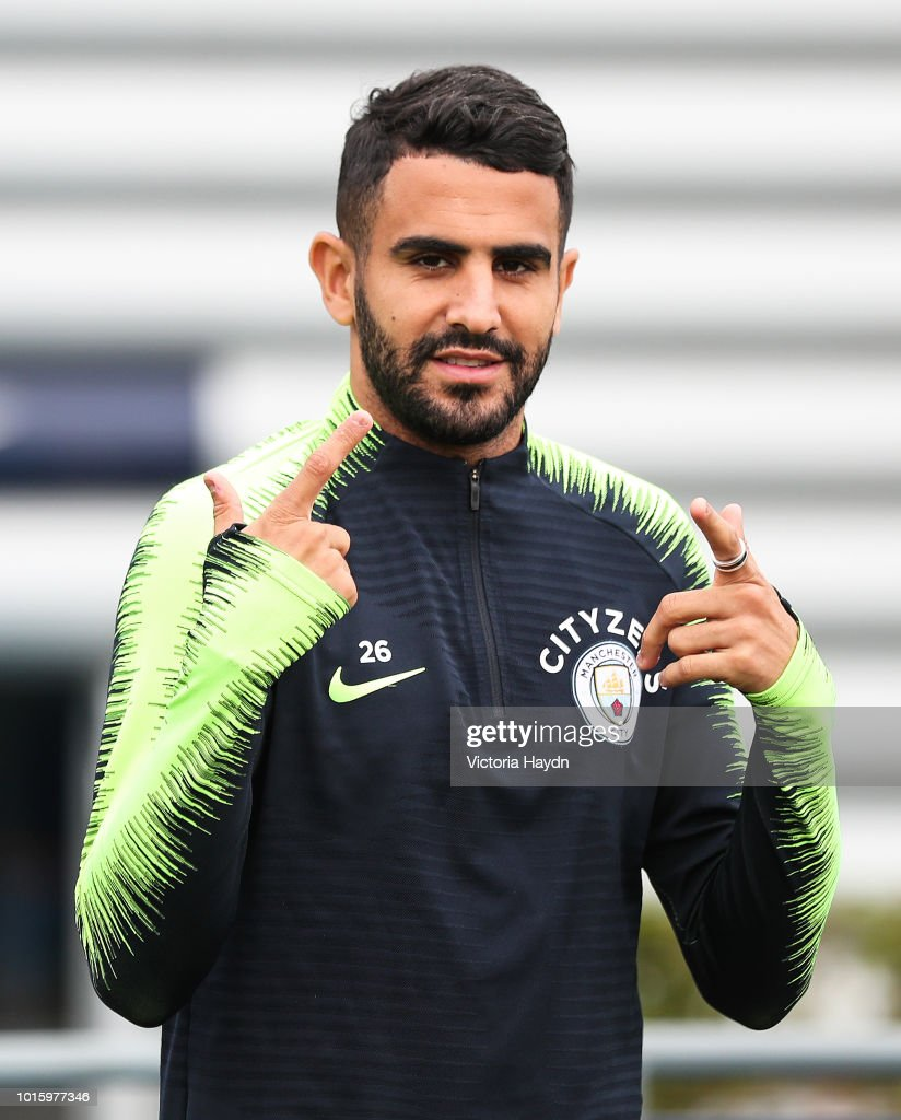 Manchester City's Riyad Mahrez during training at Manchester City Football Academy on August 10, 2018 in Manchester, England.