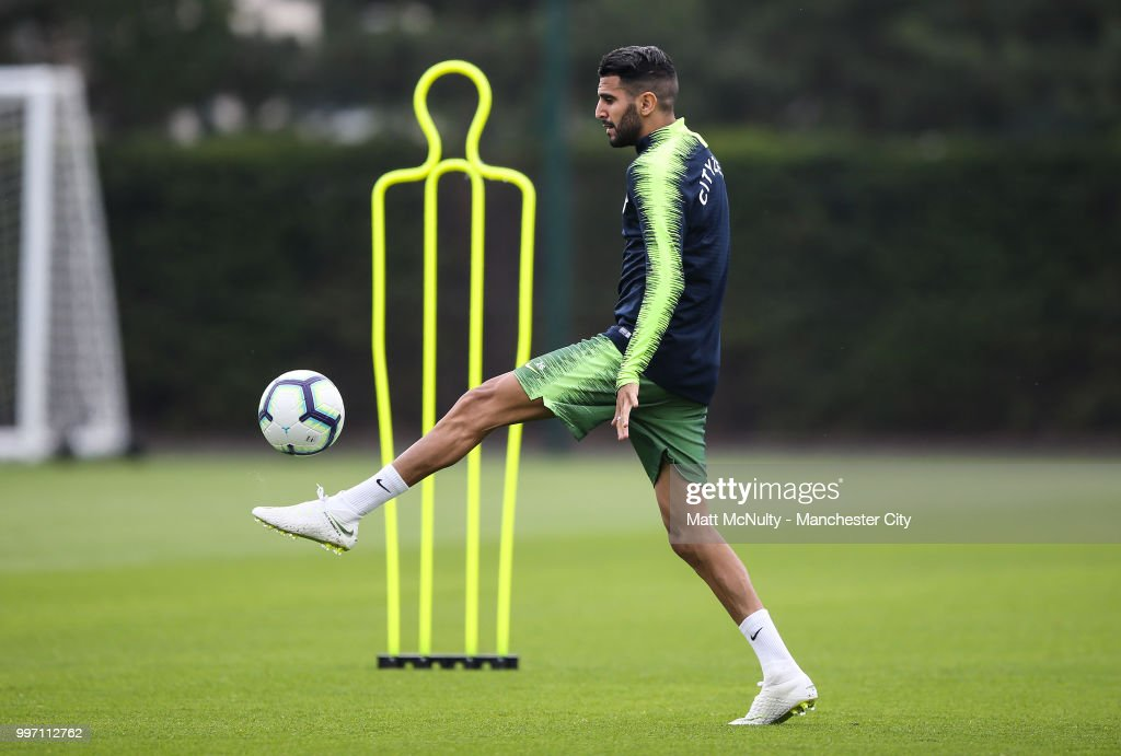 Manchester City's Riyad Mahrez during training at Manchester City Football Academy on July 12, 2018 in Manchester, England.
