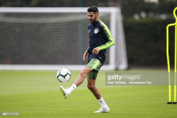 Manchester City's Riyad Mahrez during training at Manchester City Football Academy on July 12 2018 in Manchester England