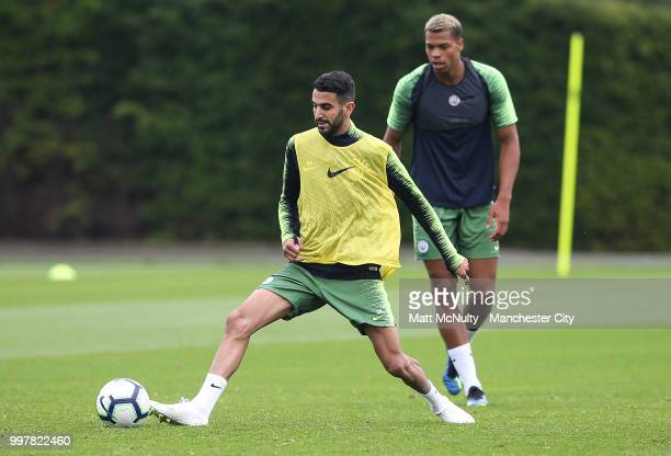 Manchester City's Riyad Mahrez during training at Manchester City Football Academy on July 13 2018 in Manchester England