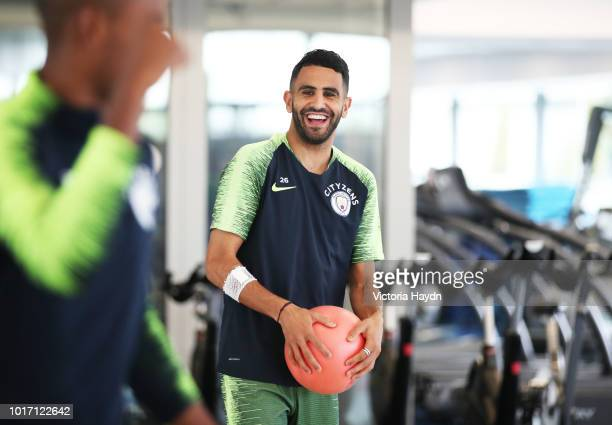Manchester City's Riyad Mahrez during training in the gym at Manchester City Football Academy on August 15 2018 in Manchester England