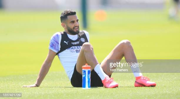 Manchester City's Riyad Mahrez in action during training at Manchester City Football Academy on May 27 2020 in Manchester England