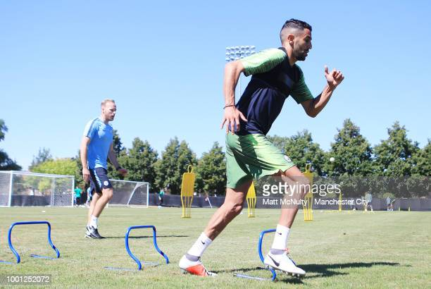 Manchester City's Riyad Mahrez in action during training at University of Illinois on July 18 2018 in Chicago Illinois