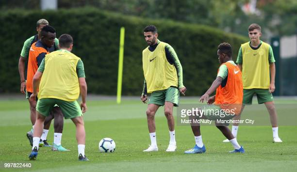 Manchester City's Riyad Mahrez in training during training at Manchester City Football Academy on July 13 2018 in Manchester England