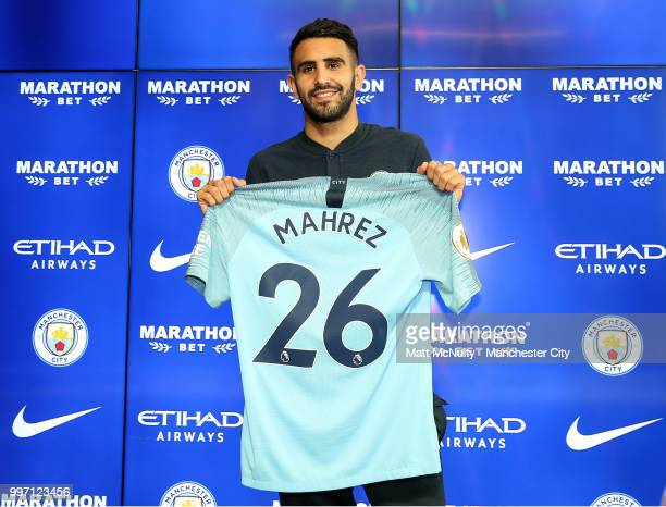 Manchester City's Riyad Mahrez is unveiled at Manchester City Football Academy on July 12 2018 in Manchester England