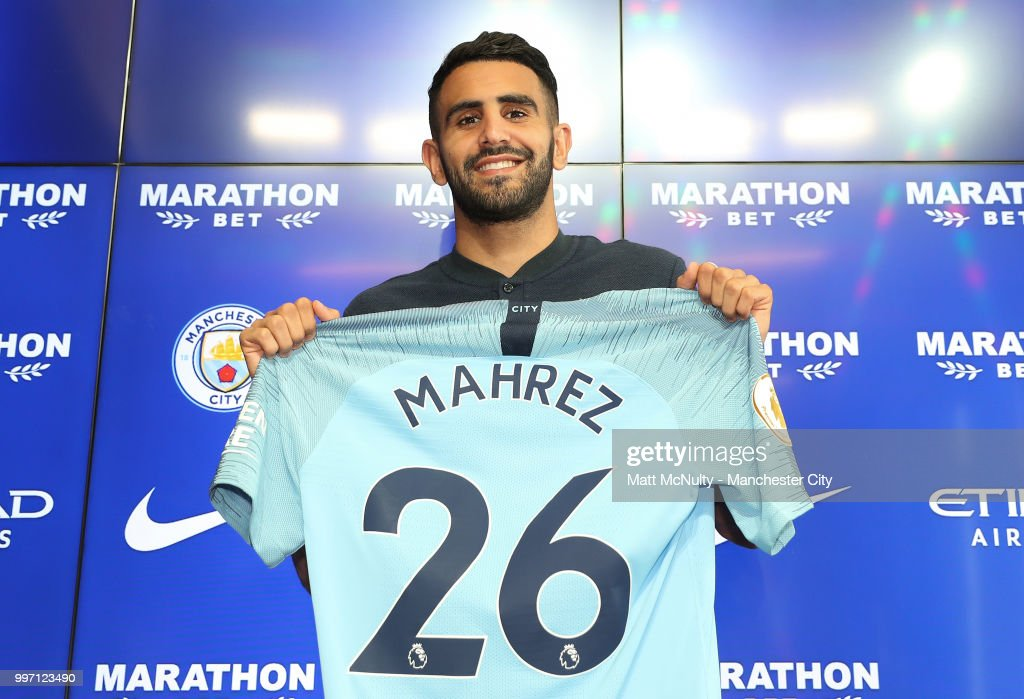 Manchester City's Riyad Mahrez is unveiled at Manchester City Football Academy on July 12, 2018 in Manchester, England.