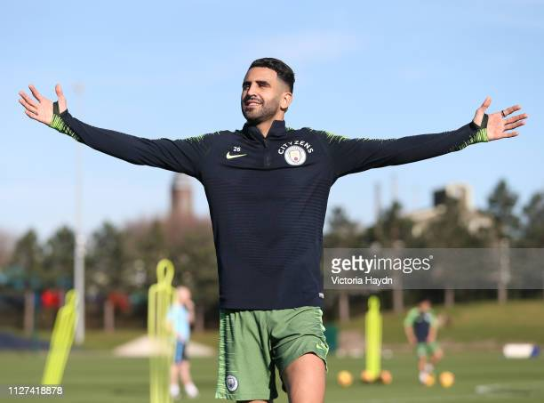 Manchester City's Riyad Mahrez reacts during training at Manchester City Football Academy on February 25 2019 in Manchester England