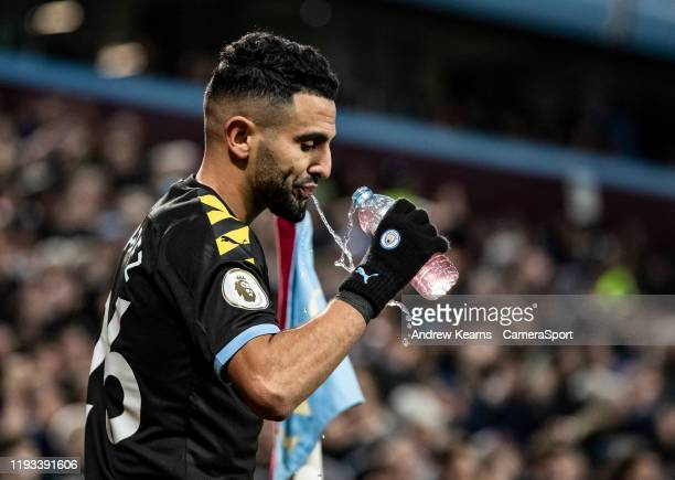 Manchester City's Riyad Mahrez takes a drink during the match during the Premier League match between Aston Villa and Manchester City at Villa Park...