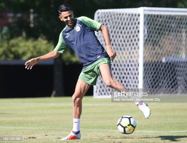 Manchester City's Riyad Marhez during training at University of Illinois on July 18 2018 in Chicago Illinois