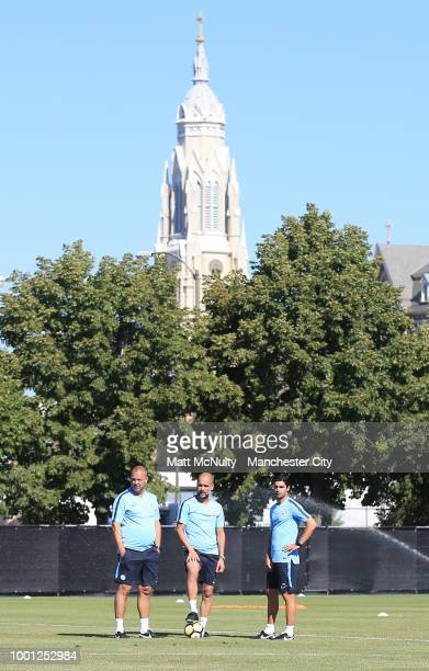 Manchester City's Rodolfo Torrent Pep Guardiola and Mikel Arteta during training at University of Illinois on July 18 2018 in Chicago Illinois