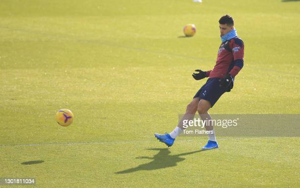 Manchester City's Rodri in action during training at Manchester City Football Academy on February 12, 2021 in Manchester, England.