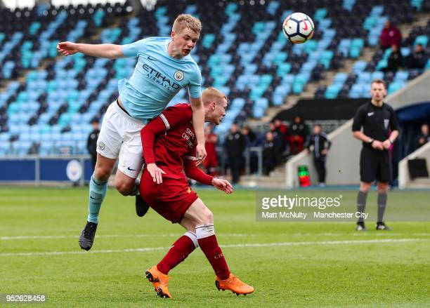 Manchester City's Rowan McDonald fires a header at goal during the U18 Premier League match between Manchester City FC and Liverpool FC on April 28...