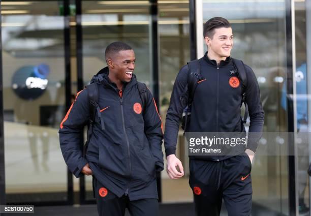 Manchester City's Saido Diallo and Aro Muric depart the City Football Academy for Salzburg