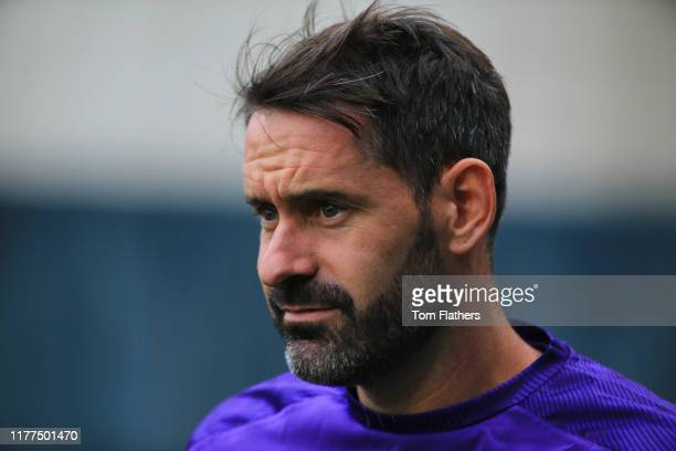 Manchester City's Scott Carson in action during training at Manchester City Football Academy on September 27, 2019 in Manchester, England.